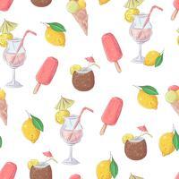 Naadloos de cocktailfruit van het patroonroomijs. Vector illustratie.