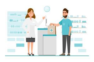 apotheek met apotheker en client in counter vector