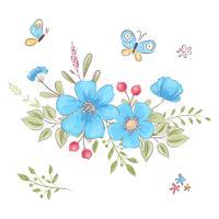 Set van wilde bloemen en vlinders. Handtekening. Vector illustratie