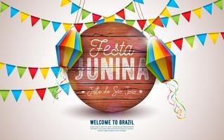 Festa Junina-illustratie met partijvlaggen en papieren lantaarn op gele achtergrond. Vector Brazilië juni festival ontwerp typografie brief op vintage houten bord