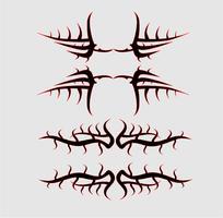 Patronen van tribal tattoo set. concept in gotisch met vleugel en vlieg
