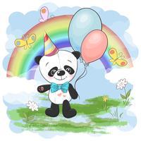 Illustratie briefkaart schattige kleine panda met ballonnen op een achtergrond van regenboog en wolken. Afdrukken op kleding en kinderkamer