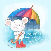Leuke het beeldverhaalmuis van de illustratieprentbriefkaar met paraplu. Afdrukken voor kleding of kinderkamer