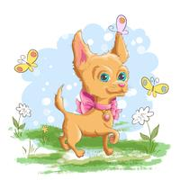 Illustratie van een schattige kleine hond met bloemen en vlinders. Afdrukken voor kleding of kinderkamer