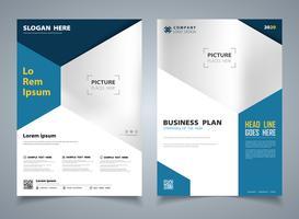 Moderne blauwe brochure van hexagon sjabloon ontwerp achtergrond. illustratie vector eps10