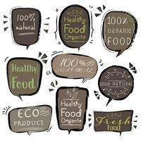 Set van banner ECO-product, natuurlijk, veganistisch, biologisch, vers, gezond voedsel. Vector illustratie.