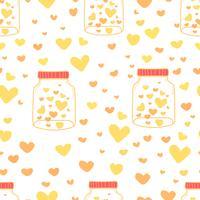 Hart op het patroonachtergrond van metselaarkruiken, Patroon met glas binnen kruik en hart, de stijlpatroon van de Liefdekrabbel, de achtergrond van het Gift verpakkende document, Vectorillustratie. vector