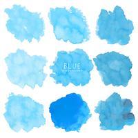 Reeks van blauwe waterverf op witte achtergrond, de waterverf van de Borstelslag, Vectorillustratie.