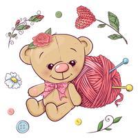 Een set van teddybeer en garen voor het breien. Handtekening. Vector illustratie