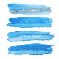 Reeks van blauwe waterverf op witte achtergrond, de waterverf van de Borstelslag, Vectorillustratie. vector