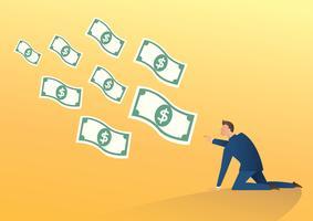 zakenman probeert vlieg geld vectorillustratie te vangen