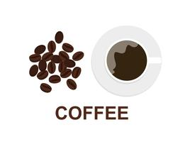 Vectorillustratie van koffiekop en koffiebonen op witte achtergrond