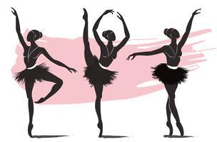 set van de vrouw ballerina, ballet logo pictogram voor ballet school dansstudio vectorillustratie