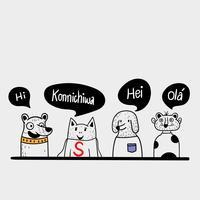 Vier vrienden begroetten de lokale taal,