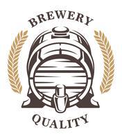 Vintage barel van bierembleem (frontaal) vector