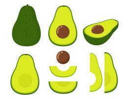 Vectorillustratie van vastgestelde verse die avocado op witte achtergrond wordt geïsoleerd