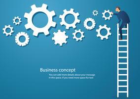 Bedrijfsconcepten vectorillustratie van een mens op ladder met toestellen