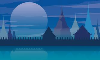 Thailand tempel landschap architectuur poster vectorillustratie