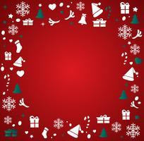 Kerstmiselementen met ruimtepatroon vectorillustratie als achtergrond
