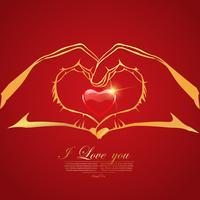 Van de de dagliefde van de gelukkige valentijnskaart de Groetkaart met Rood Hart in Handen op rode achtergrond, Vectorontwerp vector