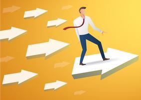zakenman op pijlpictogram en gele achtergrond, de vector van de bedrijfsconceptenillustratie