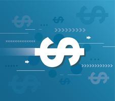 abstracte dollars en blauwe achtergrond vectorillustratie vector