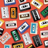 Vintage Retro Cassette Tape Patroon Ontwerpsjabloon Vectorillustratie vector