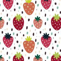 Naadloos patroon met aardbeien vector