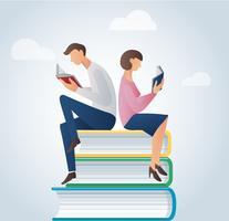man en vrouwenlezingsboeken die op vele boeken vectorillustratie zitten