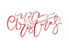 Merry Christmas hand getrokken belettering tekst. Vector illustratie Xmas kalligrafie op witte achtergrond. Geïsoleerd kalligrafisch element voor banner, briefkaart, wenskaart van het posterontwerp
