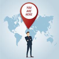 zakenman met pin locatie pictogram vector