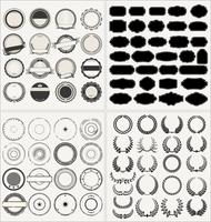 Set van lege retro vintage frames lauweren badges en stempels vector