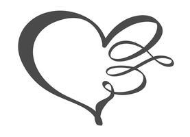 Hand getekend hart liefde teken. Romantische kalligrafie vectorillustratie. Concepn pictogram symbool voor t-shirt, wenskaart, poster bruiloft. Ontwerp platte element van dag van de Valentijnskaart