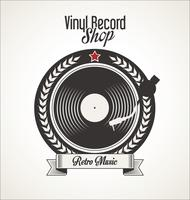 Vinyl platenwinkel retro grunge banner