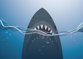 haai in de blauwe zee achtergrond vectorillustratie