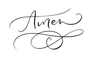 Amen vector kalligrafie bijbeltekst. Christelijke uitdrukking die op witte achtergrond wordt geïsoleerd. Hand getekend vintage belettering illustratie