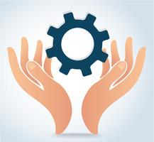 handen met versnelling ontwerp logo pictogram vector