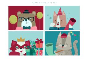 Schattige dieren verjaardag portret vectorillustratie