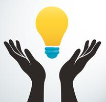 handen met gloeilamp pictogram vector, creatief concept
