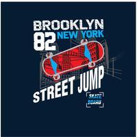 New York stad skaters vector illustratie. Skateboards vector afdrukken.
