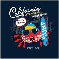 Schattig krab surfer, vector print voor kinderen dragen in aangepaste kleuren, grunge effect in afzonderlijke laag.