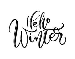 Hallo winter - hand getrokken belettering inscriptie tekst naar winter vakantie ontwerp, viering wenskaart, kalligrafie vector illustratie