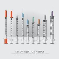 Set van injectie realistische realistische vectorillustratie