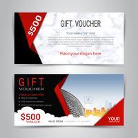 Cadeaubonnen en vouchers, kortingsbon of banner websjabloon met marmeren textuur imitatie achtergrond. vector