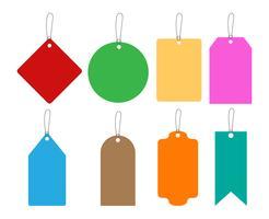 De inzameling van kleurrijk hangt markeringen geplaatst die op witte achtergrond worden geïsoleerd - Vectorillustratie vector