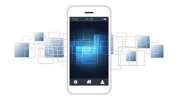 Slimme telefoon scherm met digitale printplaten achtergrond.