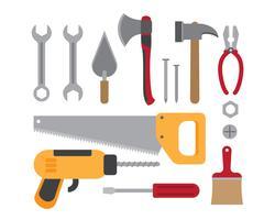 Vectorillustratie van de inzameling van bouw werkende hulpmiddelen die op witte achtergrond wordt geïsoleerd