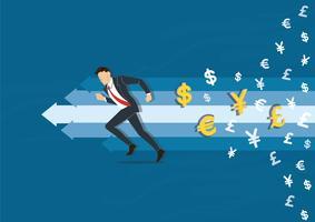 zakenman die aan succes vectorillustratie met het pictogramachtergrond van het geldsymbool, bedrijfsconceptenillustratie vector
