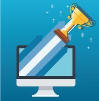 Trofee op pijlpictogram uit computer, start bedrijfsconceptenillustratie