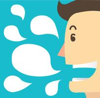 man cartoon praat en chat box achtergrond vector